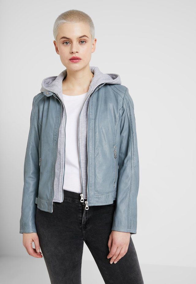 ANGY LAMAS - Leather jacket - light blue