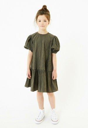 PUFF SLEEVE CHECK DRESS - Day dress - khaki