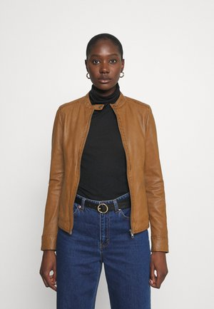 LINA - Leather jacket - cognac