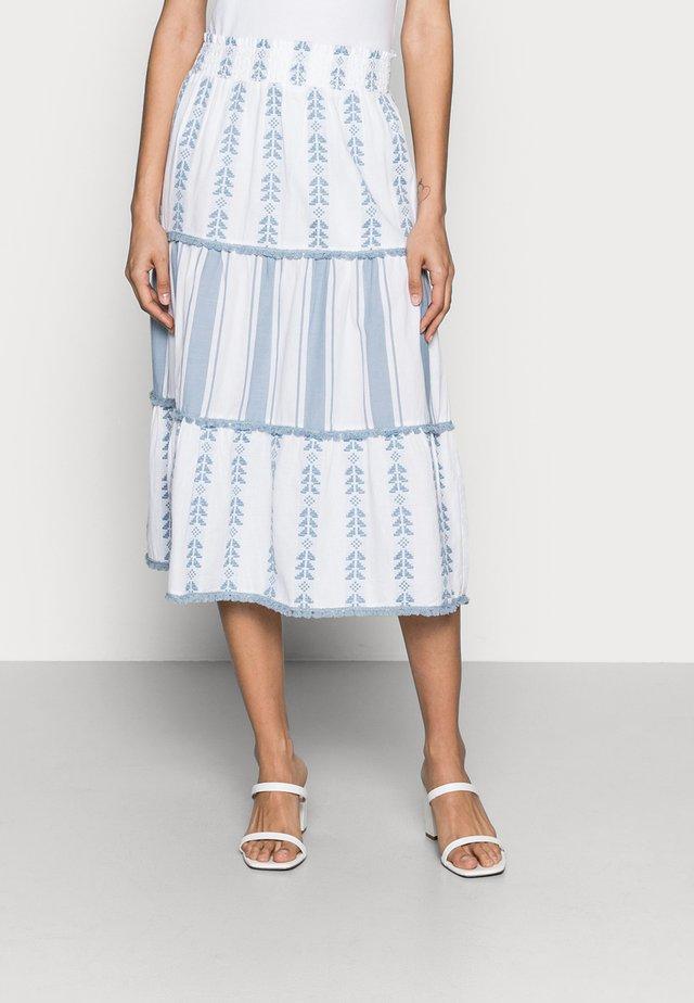 MIDI SKIRT EMBROIDERED - A-line skirt - smoked blue