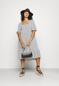 Simply Be - WAFFLE SQUARE NECK TIERED MIDI DRESS - Day dress - off-white - 1