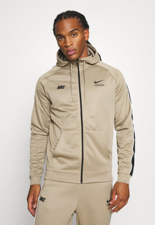 HOODIE - Training jacket - khaki/black/white