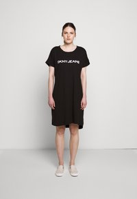 DKNY - LOGO DRESS - Jersey dress - black/white - 1