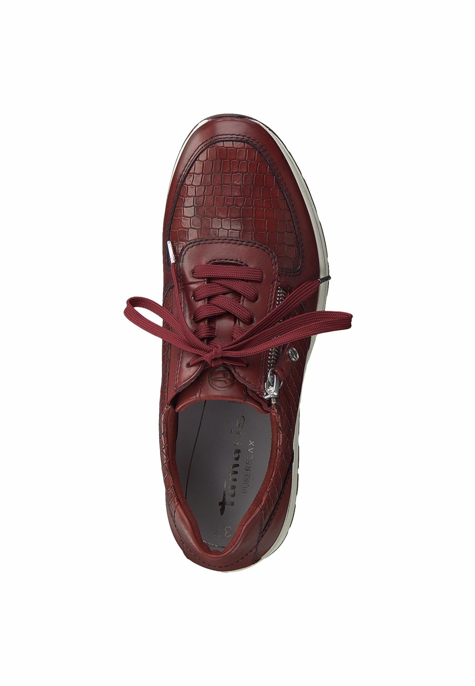 Tamaris Pure Relax LACE UP Sneaker low scarlet/croco/rot