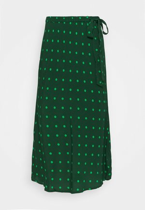 SIDE TIE BIAS MIDI SKIRT - A-lijn rok - green