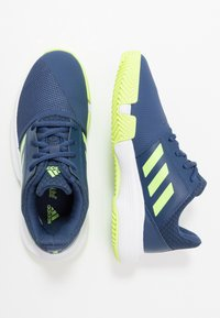 adidas Performance - COURTJAM - Clay court tennis shoes - tech indigo/signal green/footwear white - 1