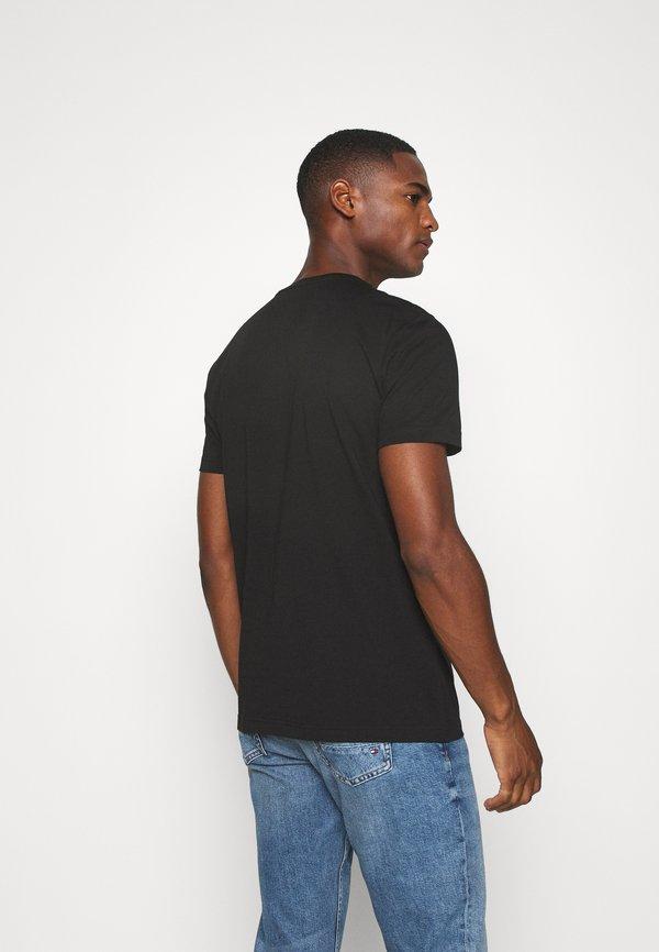 Tommy Hilfiger STRIPE TEE - T-shirt z nadrukiem - black/czarny Odzież Męska VATK