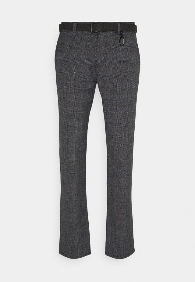 STRUCTURED - Chinos - navy grindle