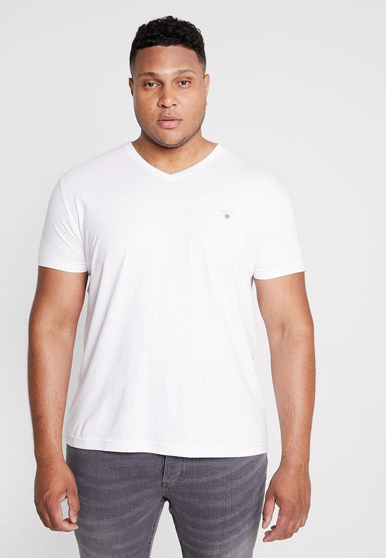 GANT - THE ORIGINAL SLIM V NECK  - T-shirt med print - white