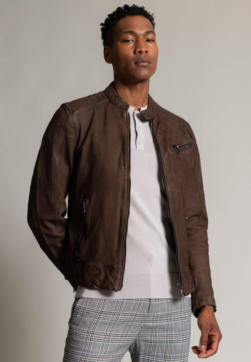 Autark - Leather jacket - dunkelbraun