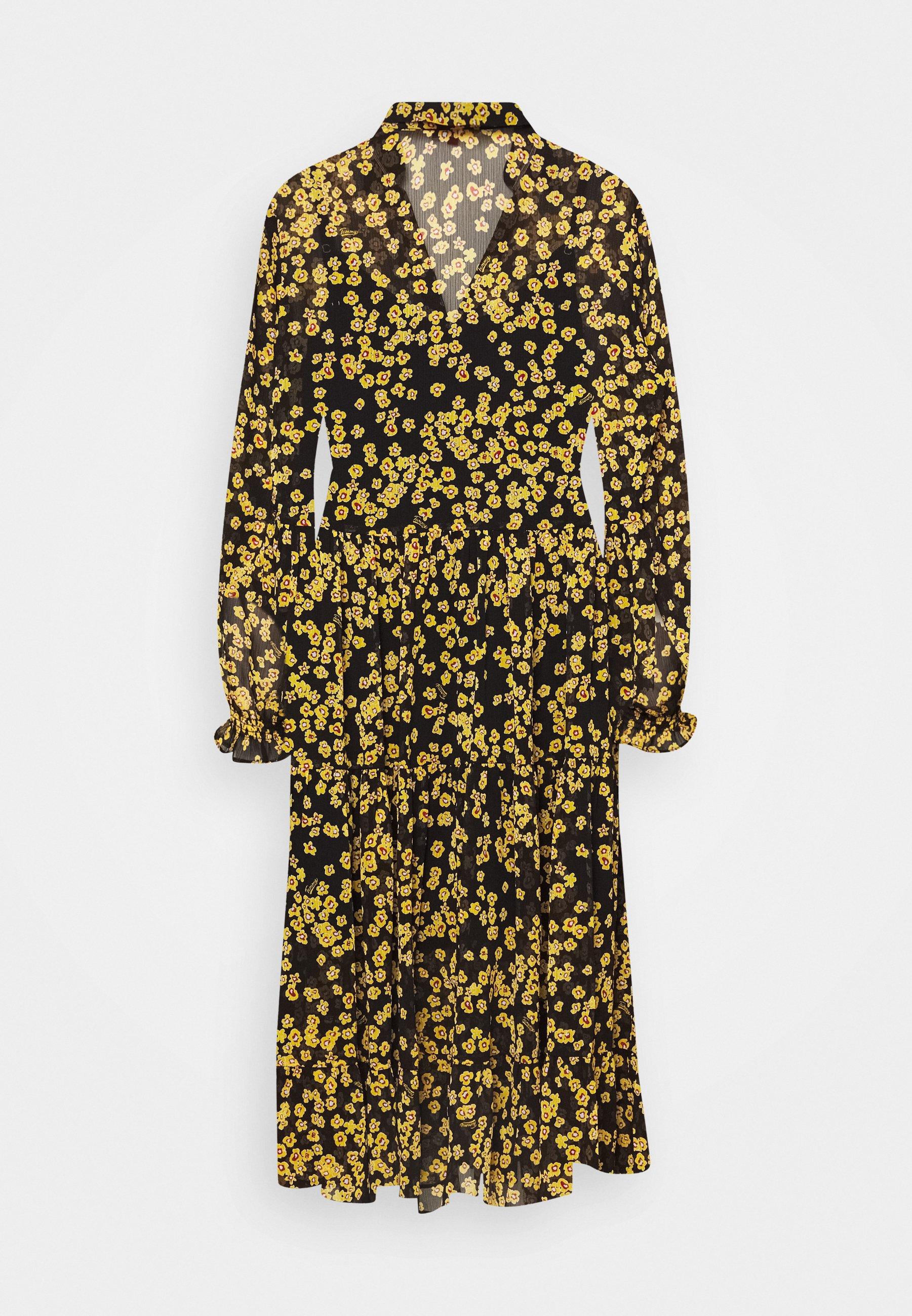 PRINTED MIDI SHIRT DRESS - Shirt dress - black/yellow