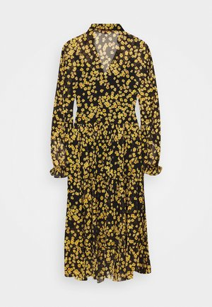 PRINTED MIDI SHIRT DRESS - Shirt dress - black/yellow