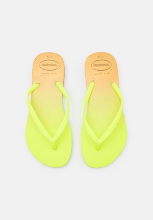 SLIM FIT GRADIENT FLUO - T-bar sandals - white/fluorescent galactic green