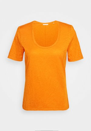 SHORT SLEEVE ROUND NECK SOLID - Jednoduché triko - sunbaked orange