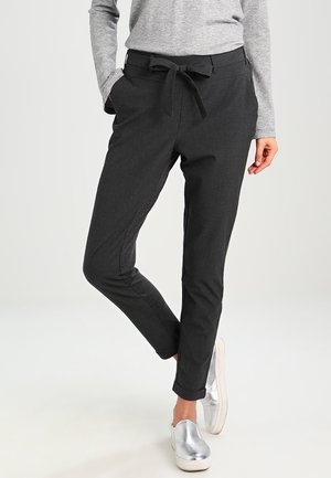 JILLIAN BELT PANT - Tygbyxor - dark grey melange