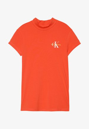 MONOGRAM MOCK NECK SLIM TEE - Print T-shirt - red