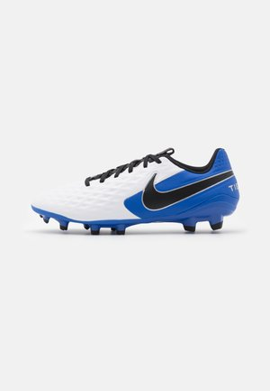 TIEMPO LEGEND 8 ACADEMY FG/MG - Moulded stud football boots - white/black/hyper royal/metallic silver