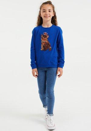 MET PAILLETTEN APPLICATIE - Pitkähihainen paita - cobalt blue