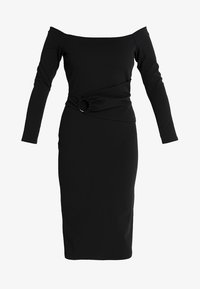 Lost Ink - RING DETAIL BARDOT MIDI BODYCON - Fodralklänning - black - 3