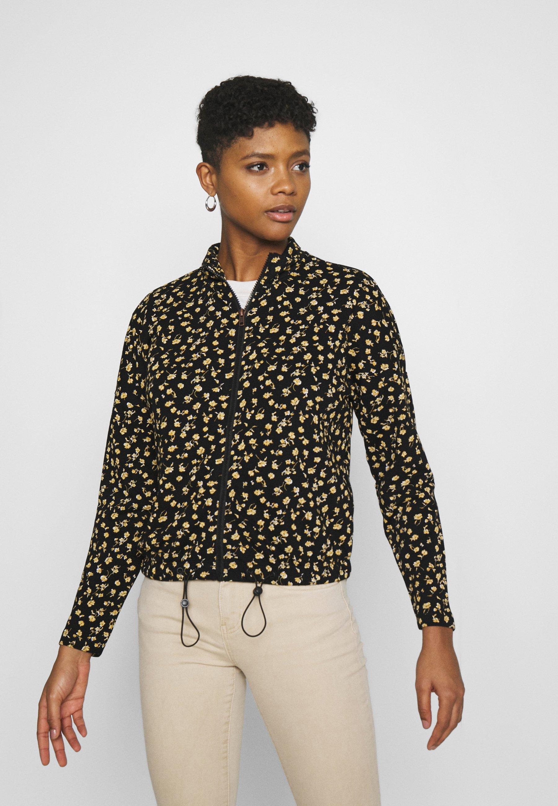 Women ONLALICE ZIP - Zip-up sweatshirt - black/yellow