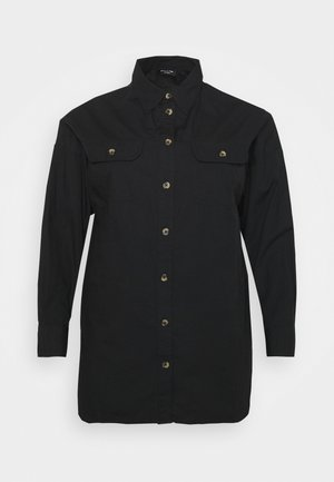 LONGLINE  - Button-down blouse - black