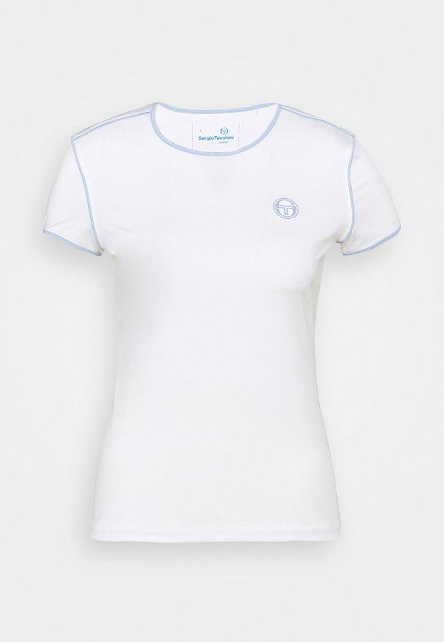 WOMAN - Triko spotiskem - blanc de blanc/kentucky blue
