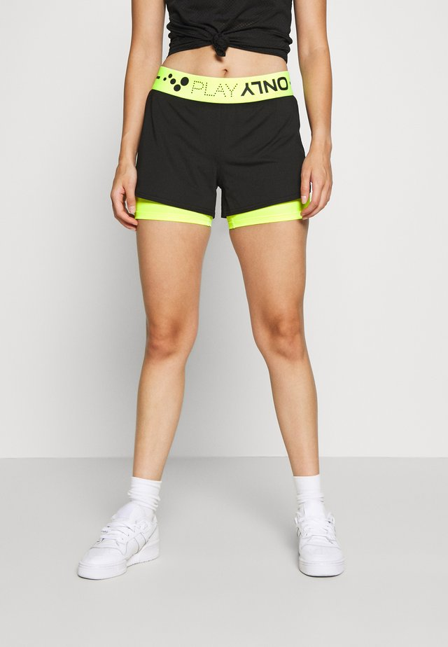 ONPJACEI LOOSE TRAINING SHORTS - Short - black/saftey yellow