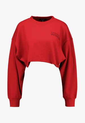 CROPPED RAW HEM - Sweatshirt - red