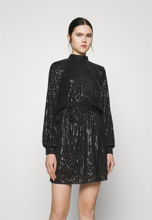 HIGH NECK SEQUIN DRESS - Cocktailkjole - black