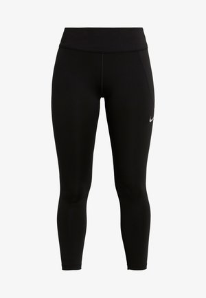 FAST CROP - Leggings - black/reflective silver