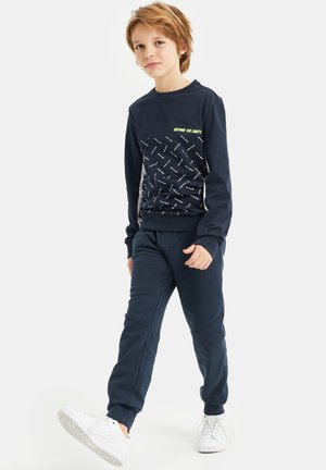 MET TAPEDETAIL EN TEKSTDESSIN - Long sleeved top - dark blue