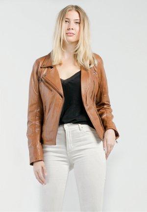 MILA - Leather jacket - cognac braun