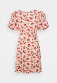 Missguided - FLORAL PUFF SLEEVE SKATER DRESS - Korte jurk - pink - 0
