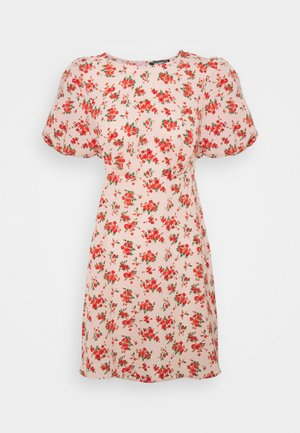 FLORAL PUFF SLEEVE SKATER DRESS - Day dress - pink
