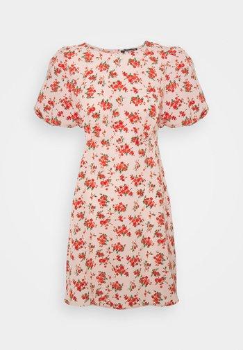FLORAL PUFF SLEEVE SKATER DRESS - Robe d'été - pink