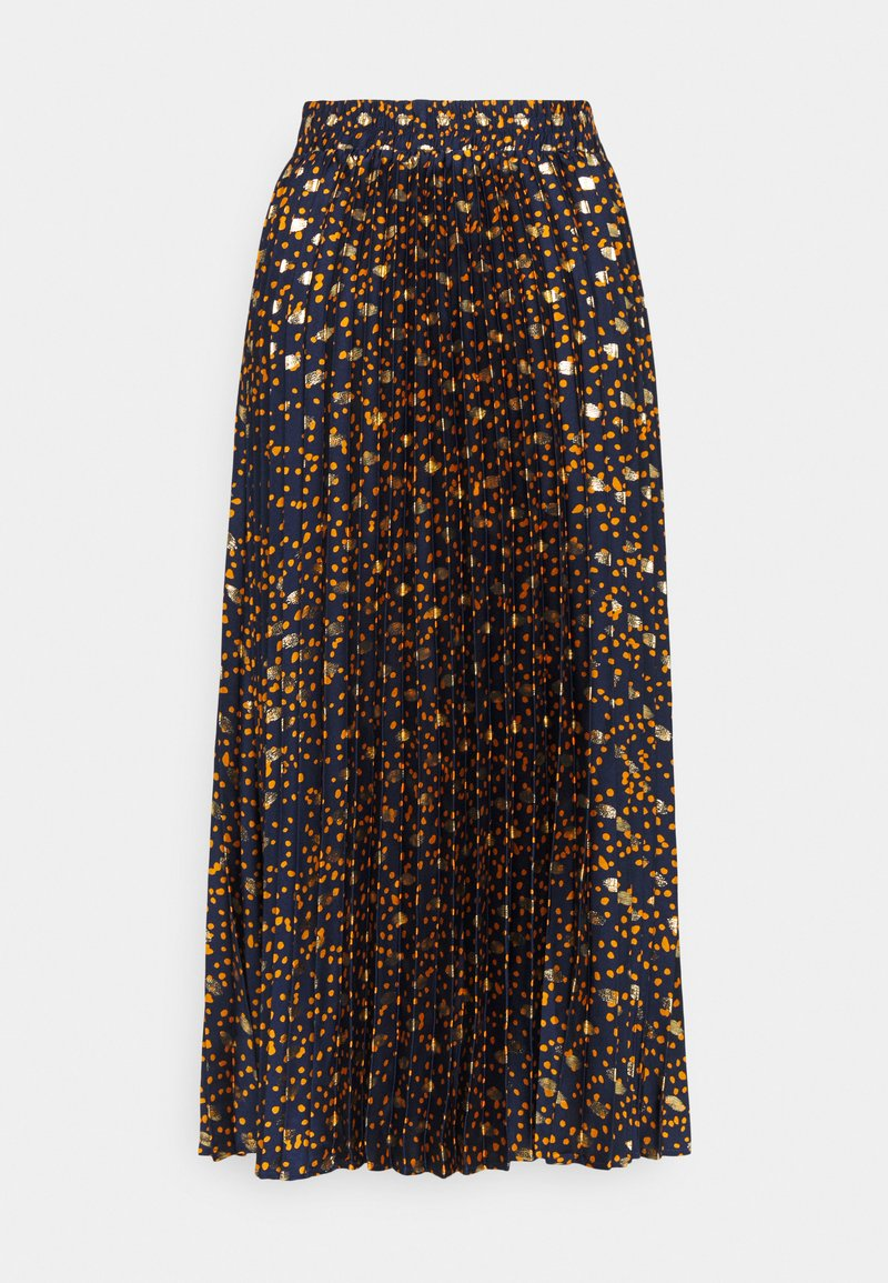 YAS Tall - YASSKYRA PLEATED MIDI SKIRT  - A-line skirt - sky captain/gold dots
