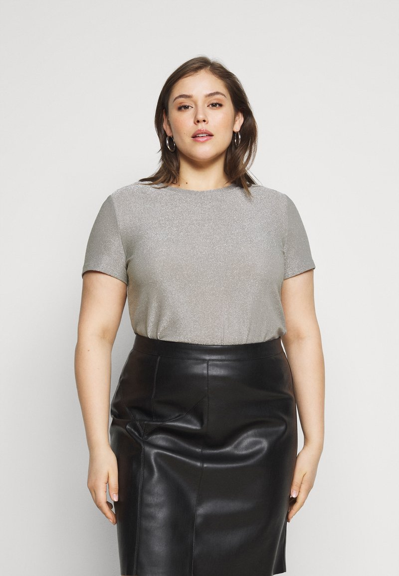 Vero Moda Curve - VMADALYN GLITTER - Basic T-shirt - silver sconce