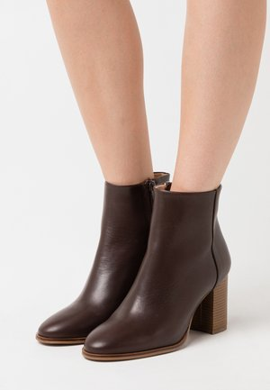 LEATHER - Ankelboots - dark brown