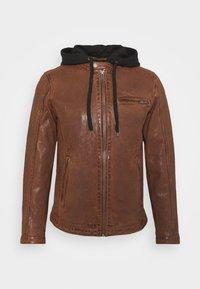 BEN HOOD - Leather jacket - cognac