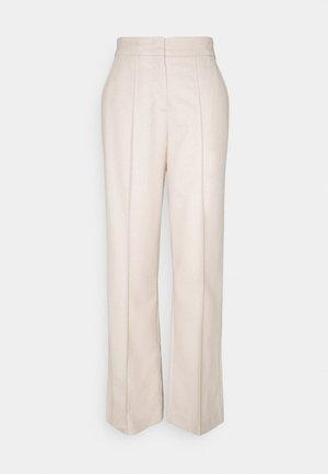 WIDE LEG PANTS HIGH WAISTED PINTUCKS - Trousers - natural wool white