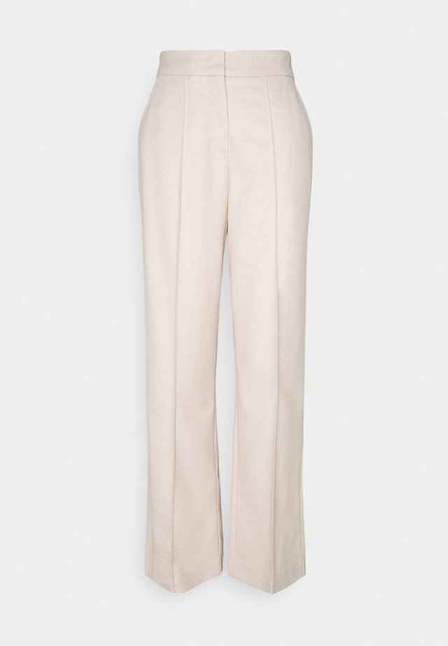 WIDE LEG PANTS HIGH WAISTED PINTUCKS - Broek - natural wool white