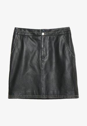 SHARON - Leather skirt - black