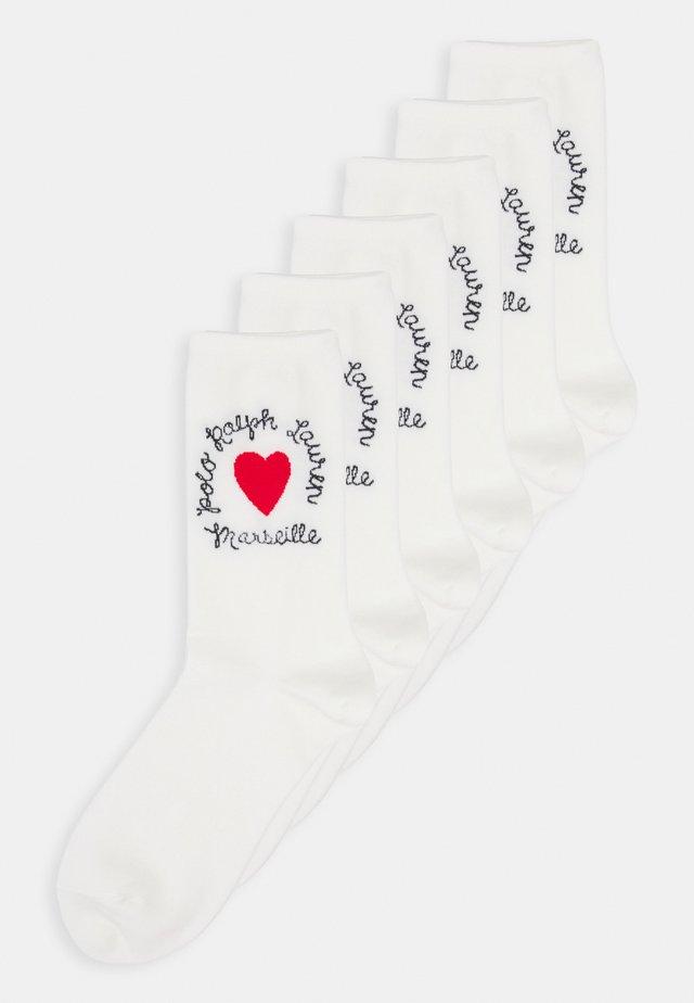 COMBED HEART 6 PACK - Socks - white