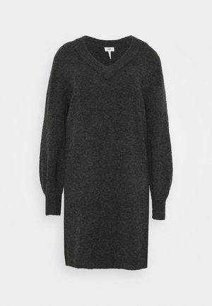 OBJNETE V NECK DRESS - Abito in maglia - dark grey melange