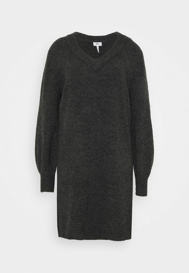 OBJNETE V NECK DRESS - Jumper dress - dark grey melange