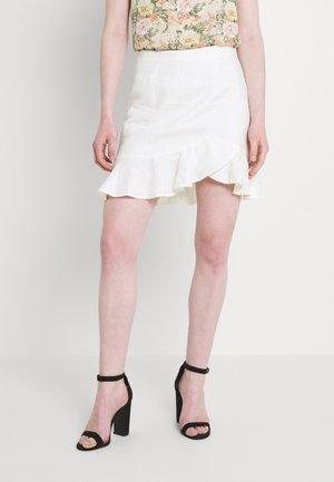 BOTTOM FLOUNCE MINI SKIRT - Mini skirt - white