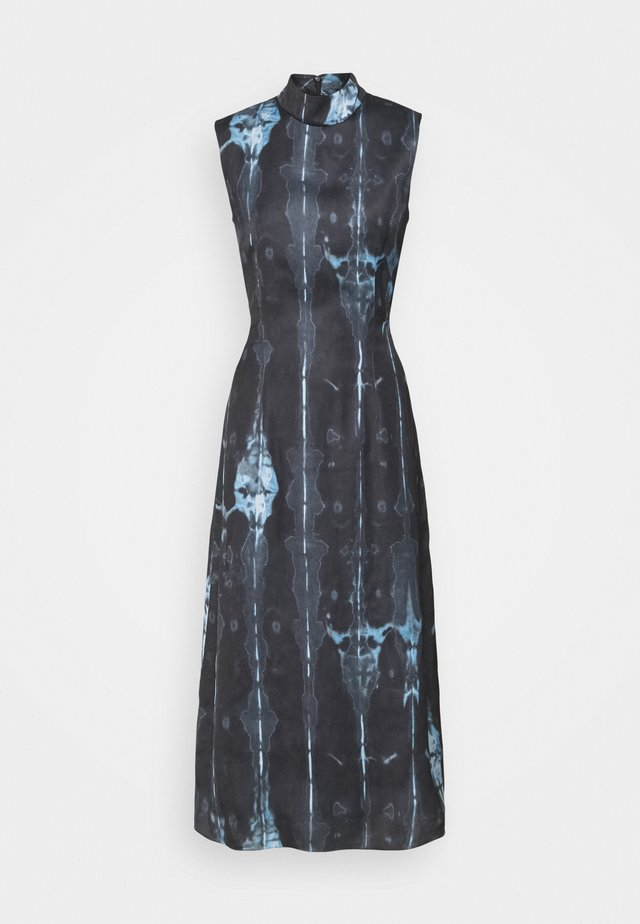 HIGH NECK SLIP MIDI DRESS  - Day dress - navy/multi