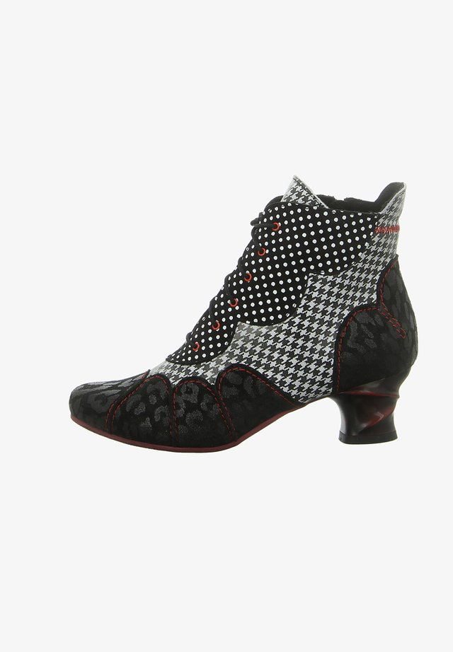 Lace-up ankle boots - schwarz weiß