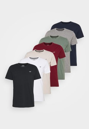 CREW 7 PACK - Basic T-shirt - white/burg/beige/navy/grey siro/green/black