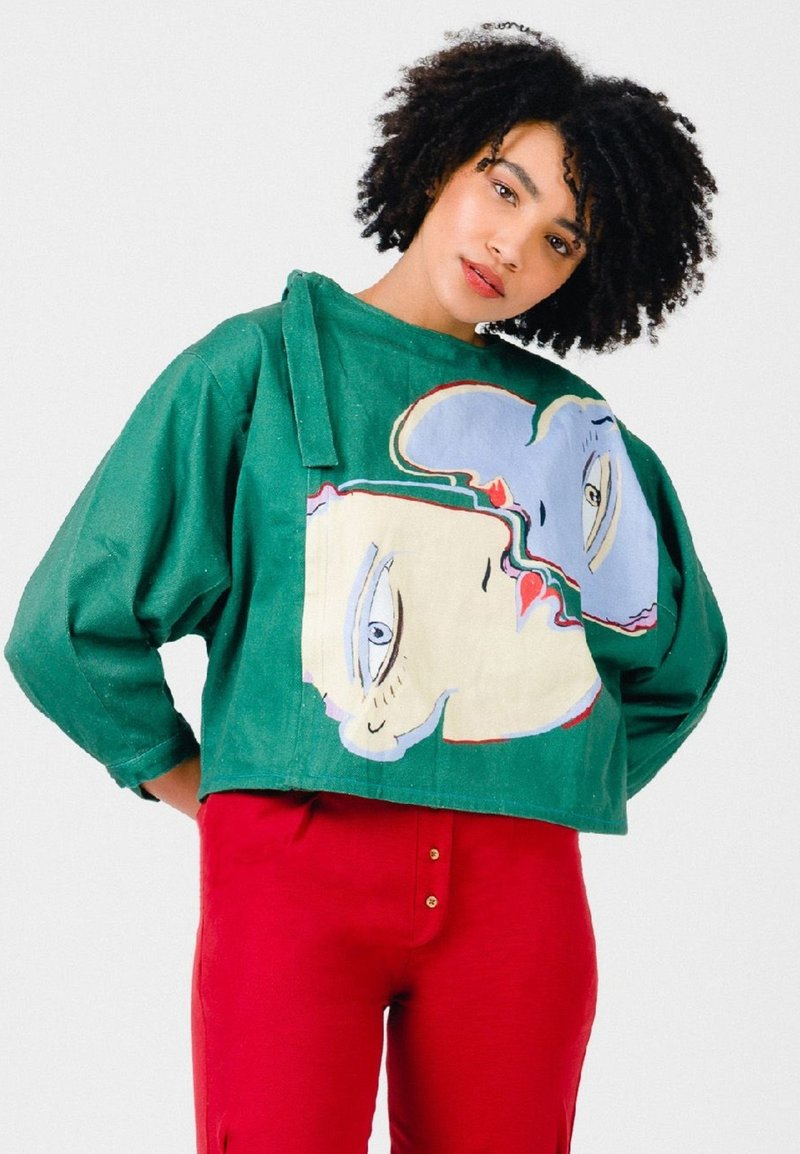 Solai - ABSTRACT FACES  - Light jacket - evergreen